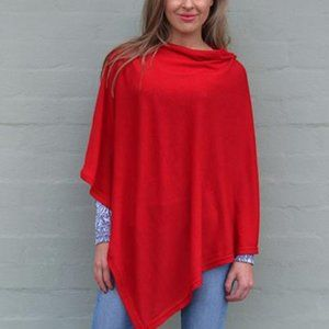 Lovely Knitted Red Poncho